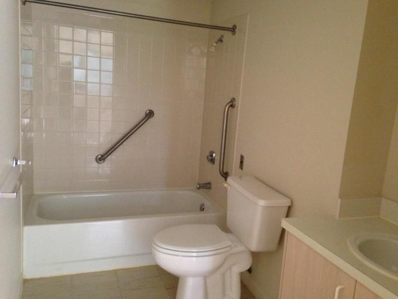 Apartment bathrooms are spacious